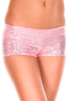 Metallic Low Rise Square Pattern Booty Shorts