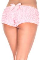 Back Satin Bow Ruffle Cheeky Shorts