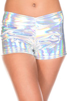 Shiny Iridescent Silver Booty Shorts