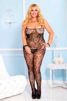 Sheer Crotchless Floral Lace Bodystocking