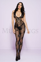 Floral Lace Up Plunging Halter Bodystocking