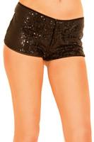 Zipper Front Sequin Booty Shorts