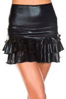 Wet Look High Waist Ruffled Mini Skirt