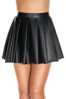Wet Look High Waist Pleated Mini Skirt