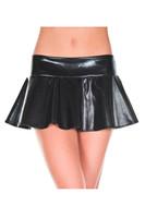 Wet Look Wavy Flared Mini Skirt