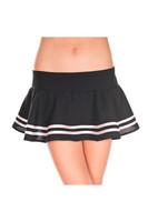 Double Striped Flared Wavy Mini Skirt