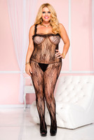 Sheer Butterfly Lace Crotchless Bodystocking