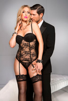 Sheer Lace Underwired Garter Straps Corset