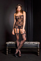Sheer Floral Lace Up Garter Dress and Stockings