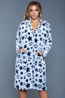 Star Print Soft Flannel Knee Length Robe