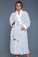 Royal Print Soft Flannel Mid-Calf Length Robe