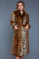 Leopard Print Soft Flannel Mid-Calf Length Robe