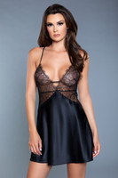 Satin and Lace Plunging Criss-Cross Strap Slip