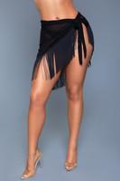 Sheer Bikini Cover Up Fringe Tie Waist Skirt