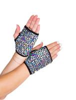 Fingerless Iridescent Wrist Length Gloves