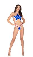 American Flag Star Shaped Bikini Romper