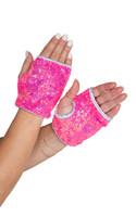 Fingerless Sequin Wrist Length Gloves