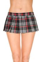 Velcro Wraparound Plaid Pleated Mini Skirt