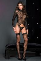 Lace Turtleneck Long Sleeve Cami-Garter Set
