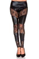 Wet Look and Sheer Lace Leggings
