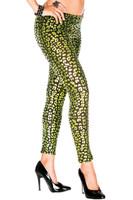 Green Metallic Leopard Print Leggings
