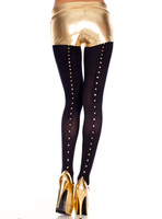 Studded Backseam Spandex Opaque Tights