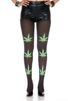 Opaque Green Leaf Print Pantyhose