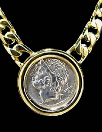 ANCIENT ROMAN REPUBLIC COIN GOLD NECKLACE