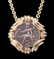CPG200 - 14K GOLD ANCIENT GREEK GORDIAN KNOT PENDANT WITH ALEXANDER THE GREAT SILVER DRACHMA COIN