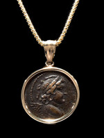 CPG202 - ANCIENT HELLENISTIC GREEK WINGED EROS BRONZE COIN FROM THE SELEUKID EMPIRE SET IN 14K GOLD PENDANT