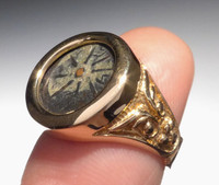 CRB001 - 14K GOLD WIDOW'S MITE COIN RING WITH ANCIENT SCROLL DESIGN
