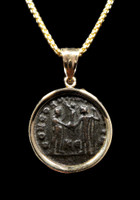 """UNITY OF THE MILITARY"" ANCIENT ROMAN MAXIMIANUS COIN PENDANT IN 14K GOLD"