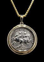 GEMINI TWINS HORSE AND RIDER COIN PENDANT WITH DIOSCURI ANCIENT ROMAN DENARIUS IN 14K GOLD  *CPR229