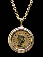 CPR162 - CONSTANTINE ANCIENT ROMAN COIN 14K GOLD PENDANT WITH BRIGHT PATINA