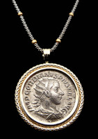 CPR150 - ANCIENT ROMAN IMPERIAL GORDIAN III SILVER ANTONINIANUS COIN PENDANT IN 14K GOLD