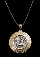 CPG029 - ANCIENT GREEK ALEXANDER THE GREAT SILVER COIN OF ZEUS ON THRONE IN 14K GOLD PENDANT