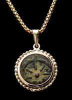 CB02 - WIDOW'S MITE COIN PENDANT WITH BEADED 14KT GOLD SETTING