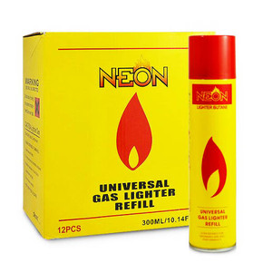 NEON UNIVERSAL GAS LIGHTER BUTANE REFILL | 300 ML | DISPLAY OF 12