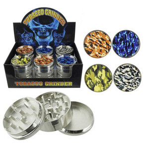 STAINLESS STEEL ASSORTED TOBACCO GRINDER | 51MM | 3 PARTS | DISPLAY OF 12