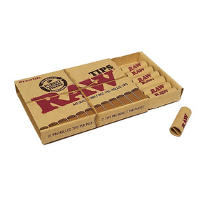 RAW | FILTER TIPS | NATURAL UNREFINED PRE-ROLLED TIPS | DISPLAY OF 20