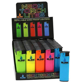 BLINK REFILLABLE WIND PROOF NEON TORCH LITES | ASSORTED COLORS | DISPLAY OF 50