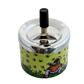 METAL SPINNABLE ASHTRAY WITH LEAF DESIGN [160027]