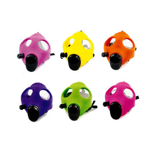 NEON GAS MASK WITH ACRYLIC PIPE SET | ASSORTED COLORS [1MA-003]