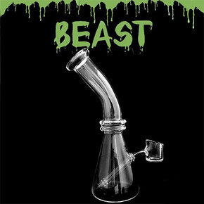 BEAST UNIQUE 4MM QUARTZ GLASS BEAKER WATER PIPE | 7"