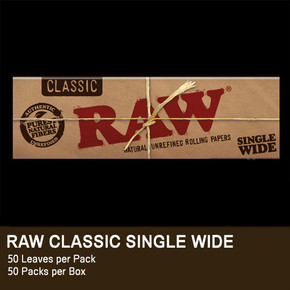 RAW ROLLING PAPERS | SINGLE WIDE | DISPLAY OF 25