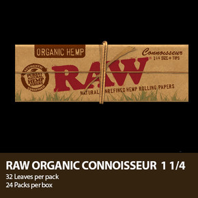 RAW ROLLING PAPERS | CONNOISSEUR | 1 1/4 SIZE + TIPS | DISPLAY OF 24