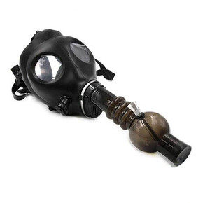 BLACK GAS MASK WITH ACRYLIC PIPE SET[1GM-BLACK]