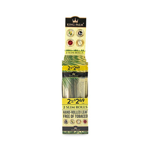 KING PALM SLIM SIZE | 2 PACK PRE-ROLL | PRE-PRICED $2.49 | 20 COUNT DISPLAY