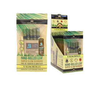 KING PALM | SLIM SIZE | 5 PACK PRE-ROLL WITH BOVEDA | 15 COUNT DISPLAY