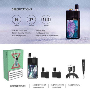 LOST VAPE | ORION DNA GO REFILLABLE 2ML POD SYSTEM KIT | 40W | 950MAH | WITH 3 X 2ML REFILLABLE PODS